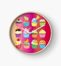 Cupcakes Galore Delicious Yummy Sugary Sweet Baked Treats Clock