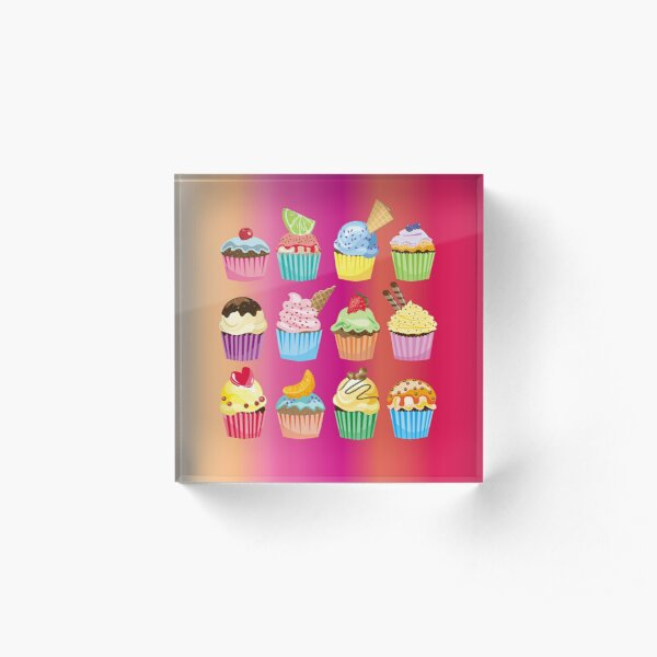 Cupcakes Galore Delicious Yummy Sugary Sweet Baked Treats Acrylic Block