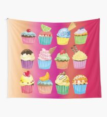 Cupcakes Galore Delicious Yummy Sugary Sweet Baked Treats Wall Tapestry
