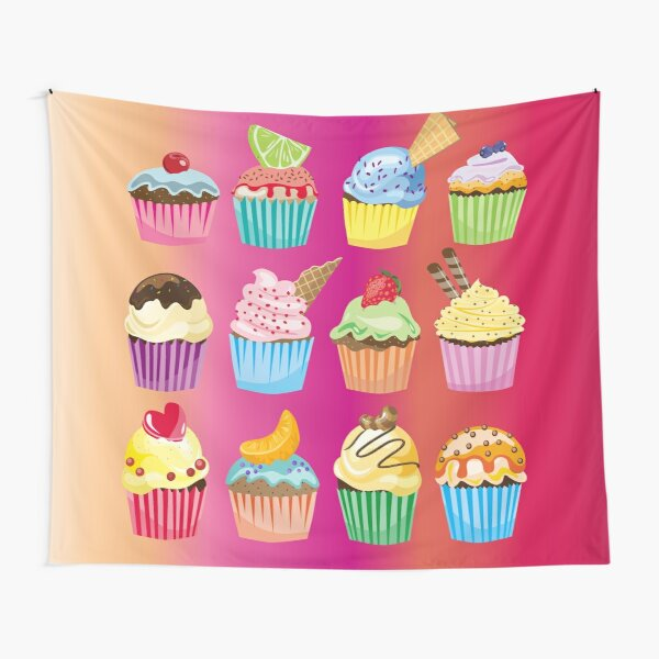 Cupcakes Galore Delicious Yummy Sugary Sweet Baked Treats Tapestry
