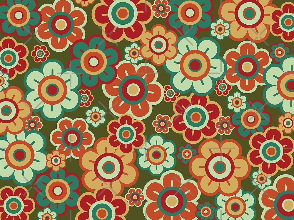 Retro Pop Red and Green Daisies by fatfatin
