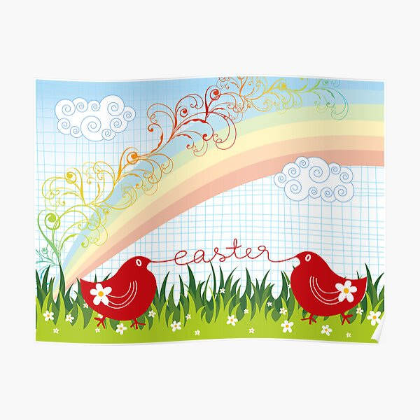 Easter Chicks & Rainbow Poster