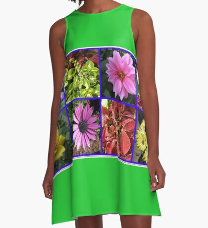 Summer Flowers and Plants Collage A-Linien Kleid