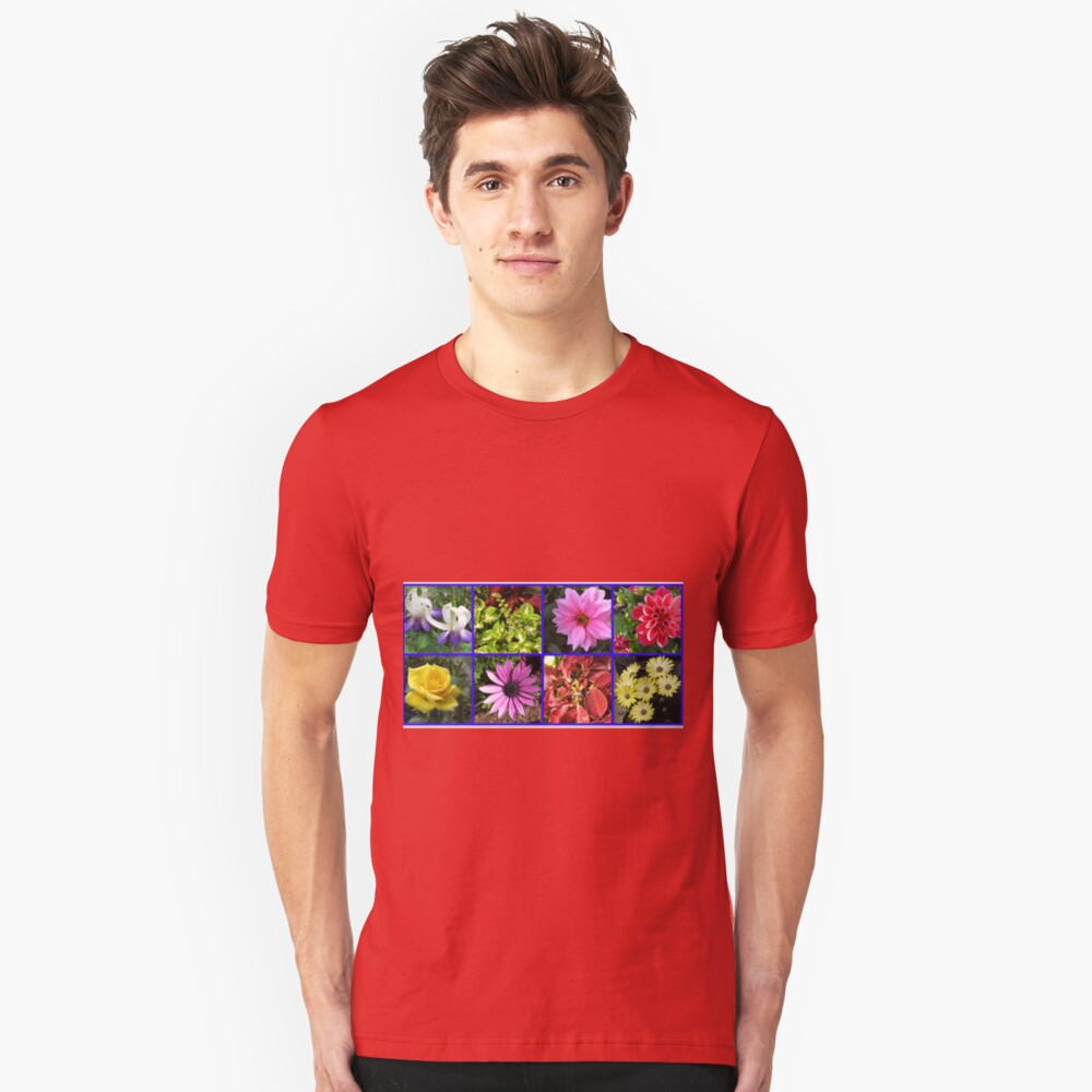 Summer Flowers and Plants Collage Slim Fit T-Shirt