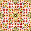 Red Gingham Pastel Mandala by PatriciaSheaArt