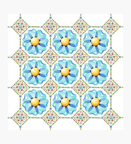 Blue Daisy Boho Photographic Print