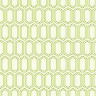 Elongated Hexagon Geometric Pattern (Line Green on White) by KristyKate