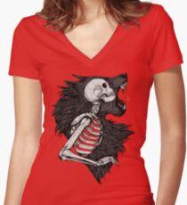 Liliths Bruderfarbe Tailliertes T-Shirt mit V-Ausschnitt