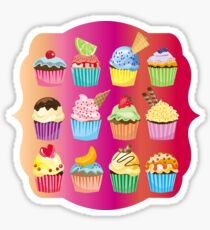 Cupcakes Galore Delicious Yummy Sugary Sweet Baked Treats Sticker
