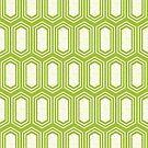 Elongated Hexagon Geometric Pattern (Fill White on Green) by KristyKate