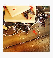 Close-up of Christmas composition with cones Photographic Print