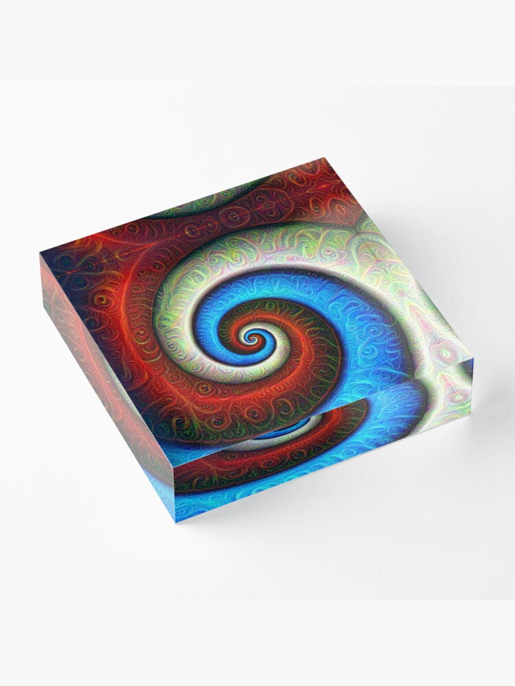 Alternate view of #DeepDream Color Fibonacci Visual Areas Acrylic Block