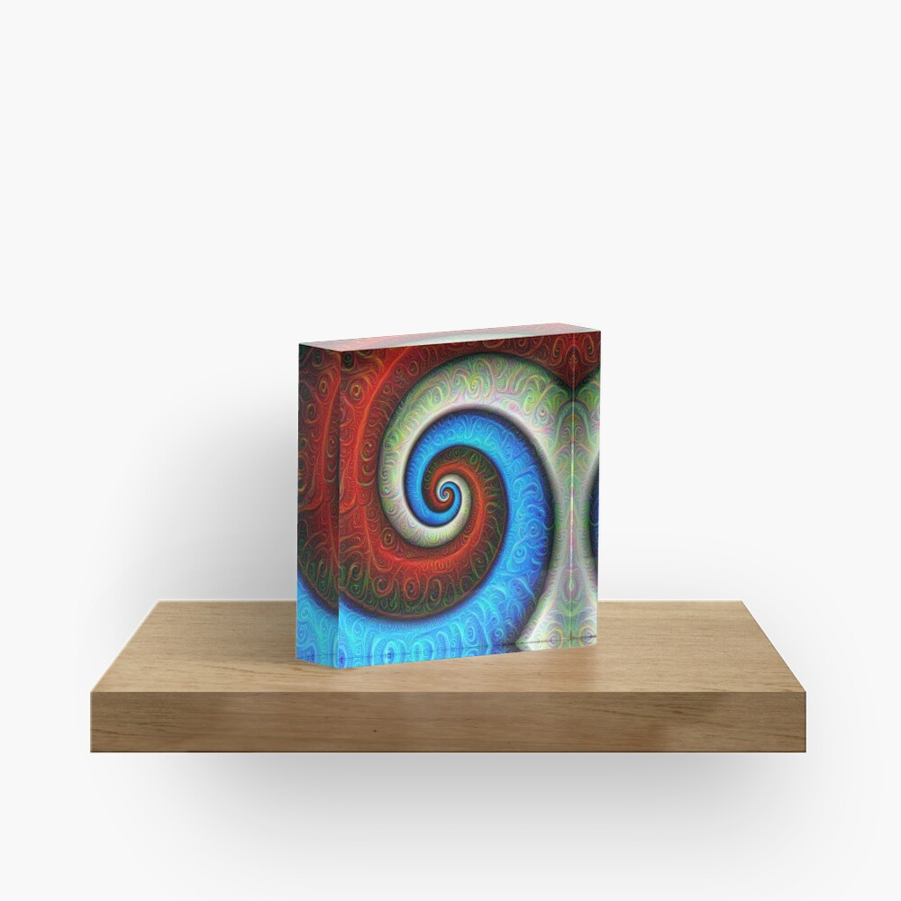 #DeepDream Color Fibonacci Visual Areas Acrylic Block