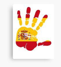 Spain flag in handprint Canvas Print