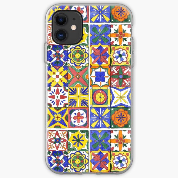 Colorful Mexican tiles - in pen and watercolors iPhone Soft Case