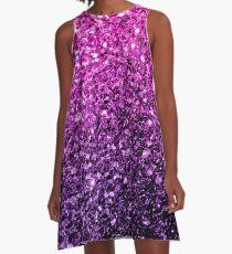 Schöner purpurroter rosa Ombre Funkeln funkelt A-Linien Kleid