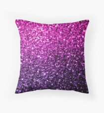 Beautiful Purple Pink Ombre glitter sparkles  Throw Pillow