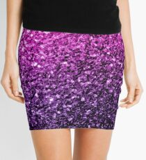Beautiful Purple Pink Ombre glitter sparkles  Mini Skirt