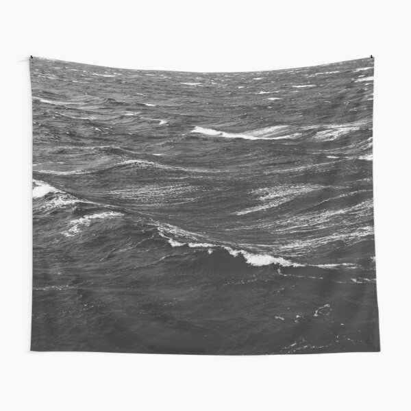 Black and white photo of a stormy sea Tapestry