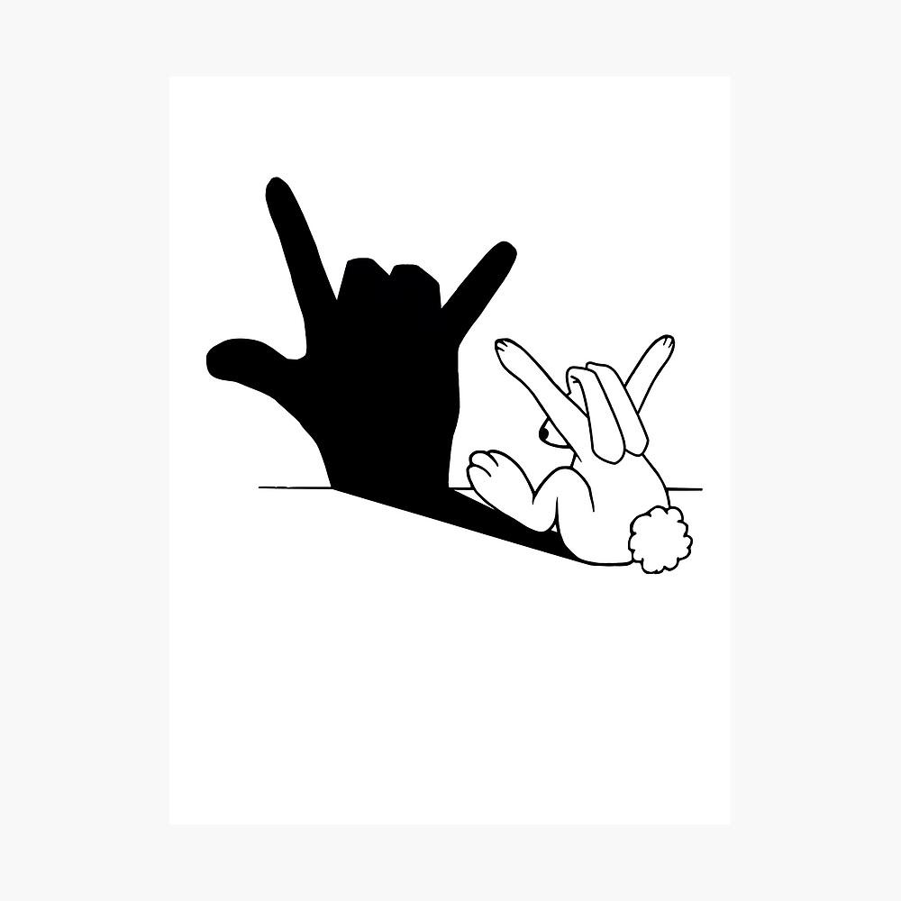 Kaninchen-Liebes-Handschatten Fotodruck