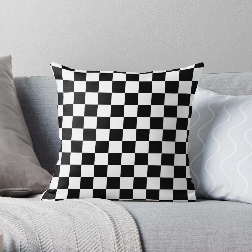 Blanco y negro Check Checkered Flag Motorsports Race Day + Ajedrez Cojín