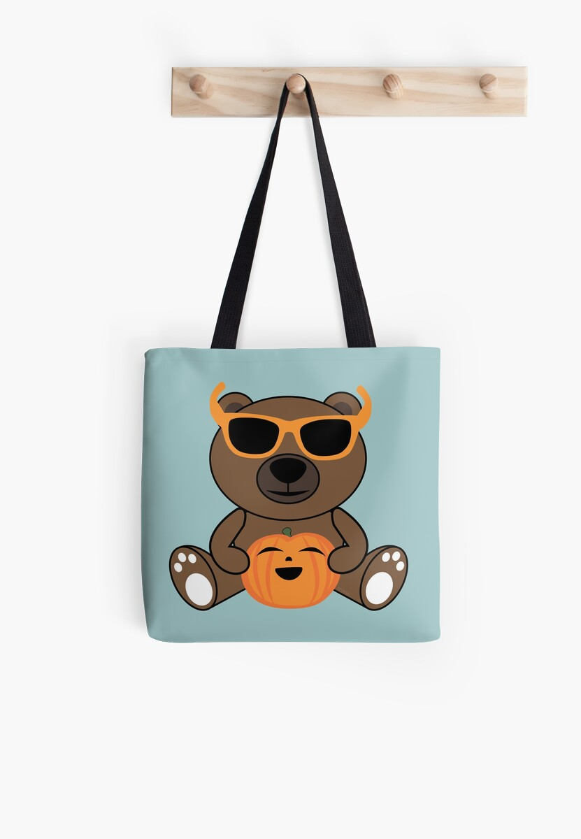 Cool Halloween bear holding pumpkin on Light Blue by PLdesign