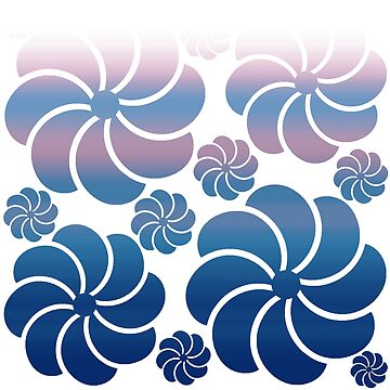 Hawaiian Inspired Mosaic Flower Waterfall Purple Navy Blue Ombre Back to School by Saburkitty