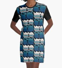 Pink Blush and Teal Blue Ombre Hawaiian Inspired Mosaic Flower Waterfall Back to School Graphic T-Shirt Dress