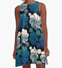 Pink Blush and Teal Blue Ombre Hawaiian Inspired Mosaic Flower Waterfall Back to School A-Line Dress