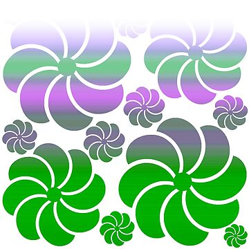 Mosaic White Purple True Green Ombre Flower Waterfall Hawaiian Inspired Back to School by Saburkitty
