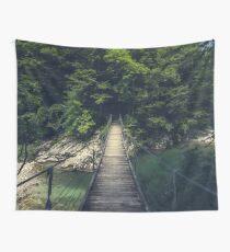 Simple suspension bridge over river Idrijca, Slovenia Wall Tapestry