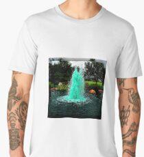 Blue/Green Fountain at a Houston Park Men's Premium T-Shirt