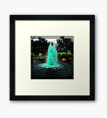 Blue/Green Fountain at a Houston Park Framed Print
