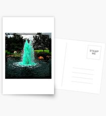 Blue/Green Fountain at a Houston Park Postcards