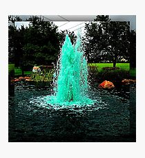 Blue/Green Fountain at a Houston Park Photographic Print
