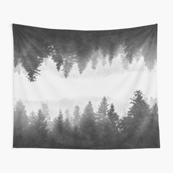 Black and white foggy mirrored forest Tapestry
