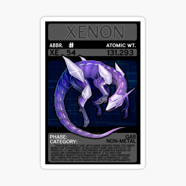 Scygon Elemental Card #10- Xenon Sticker