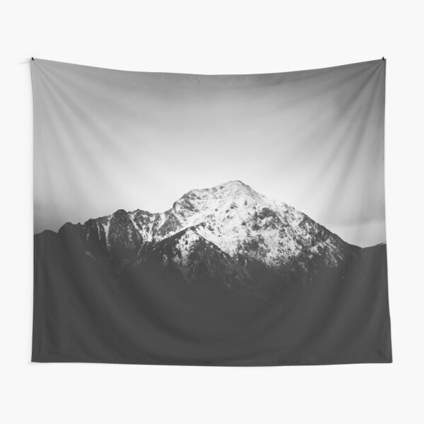 Black and white snowy mountain Tapestry
