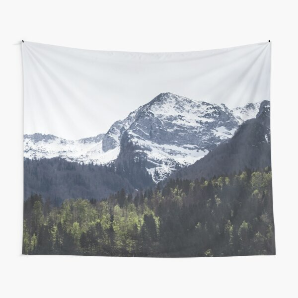 Winter and Spring - green trees and snowy mountains Tapestry