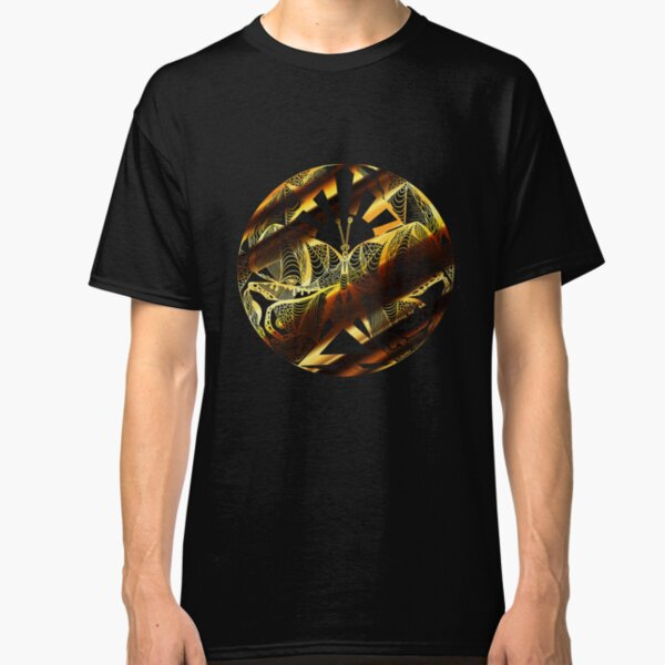 Black and Gold Butterfly Circle Classic T-Shirt