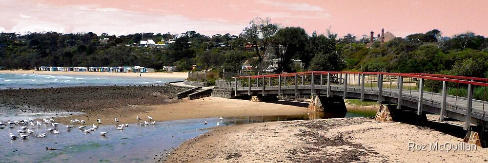 Beach and Bathing Boxes, Mornington Peninsula by Roz McQuillan