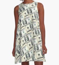 100 Dollar Benny Street US Money Art One Hundred Benjamin Franklin Cash Stacks A-Line Dress