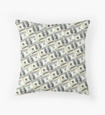 100 Dollar Benny Street US Money Art One Hundred Benjamin Franklin Cash Stacks Throw Pillow