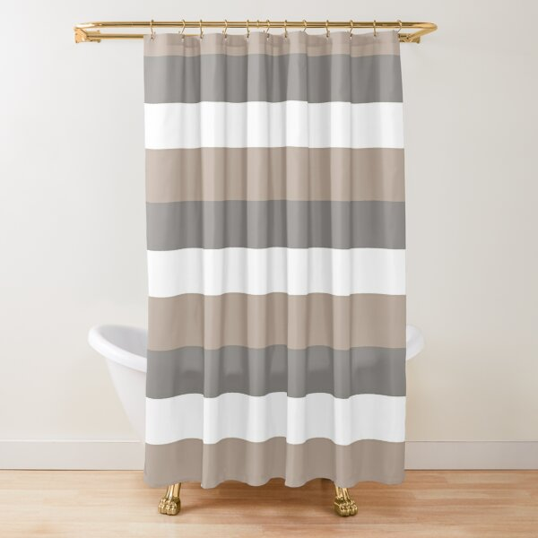 NATURAL STRIPE IN WHITE - TAUPE - GREY THICK HORIZONTAL 3 STRIPES Shower Curtain