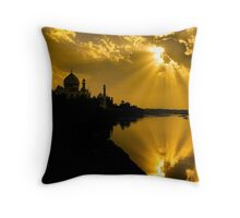 Taj Mahal God Rays - Throw Pillow by Glen Allison