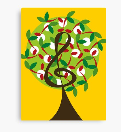 Musical Cherry Notes Tree Canvas Print