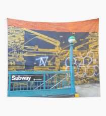 NYC Streetart - Wall painted 7 - Subway station Wall Tapestry