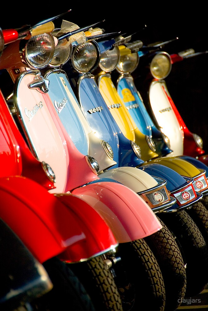 Vespa scooters lined for sale in Thailand by clayjars
