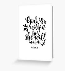 God Is Within Her, She Will Not Fall - Christian Shirts – Christian T-Shirts – Christian Shirts for Women – Religious Shirts – Bible Verse Shirts – Religious T-Shirts Greeting Card