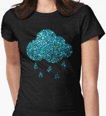 Beautiful Aqua blue glitter sparkles Fitted T-Shirt